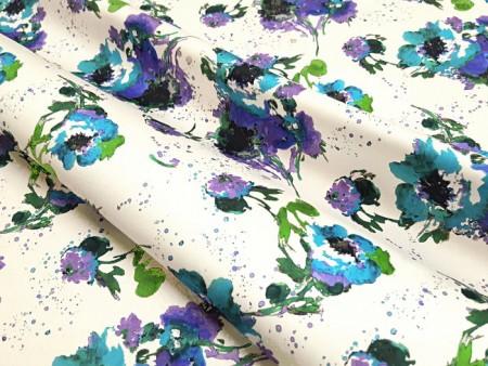 Satin de coton imprimé fleuri bleu