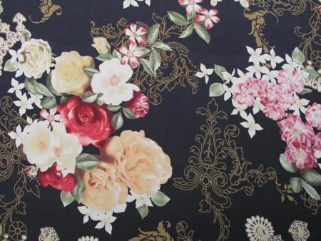Tissu voile de soie imprimé de motifs géants floraux