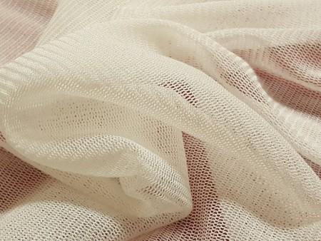 Tulle de soie extensible blanc soie