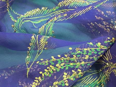 Mousseline de soie imprimée bleue