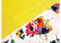 Satin de coton imprimé fleuri rouge