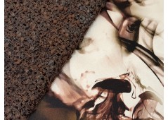Satin de soie imprimé aquatique brun