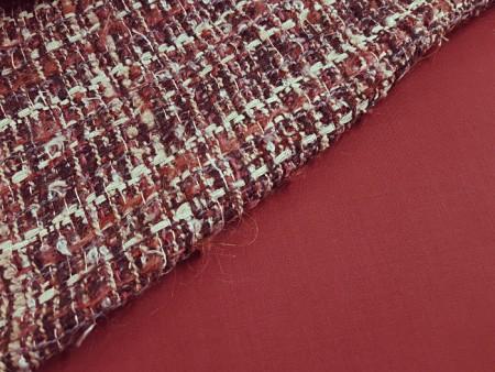 Pure laine Haute-Couture rouge passe-velours