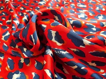 Satin imprimé léopard rouge