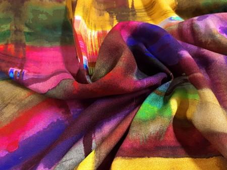 Crêpe imprimé coulures colorées