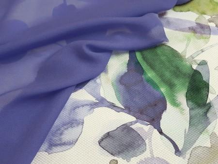 Mousseline de soie stretch bleu jean