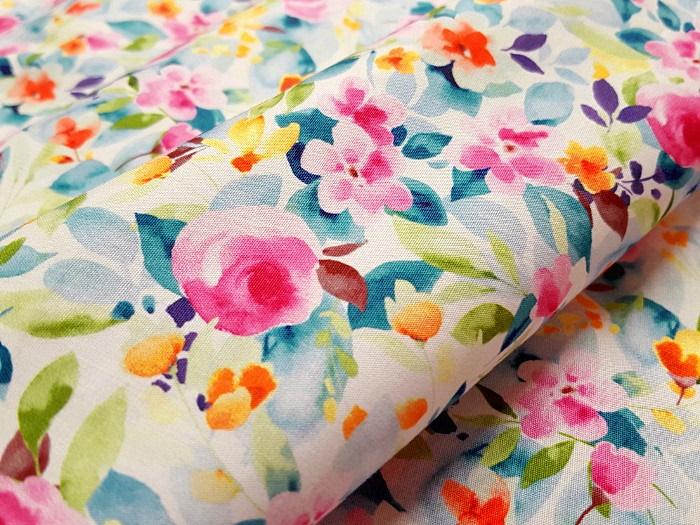 Popeline imprimée petites roses