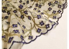 Tulle brodé fleurettes bleu indigo