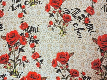 Crêpe de soie imprimé dentelle et roses