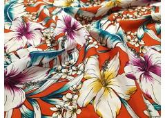 Viscose Chally imprimée hibiscus brique