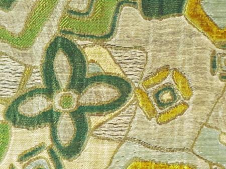 Damassé géométrique vert et bronze