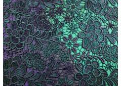Guipure bicolore marine et émeraude