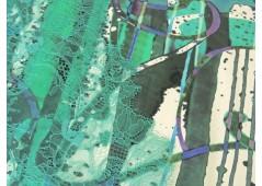 Satin de coton imprimé ethnique vert
