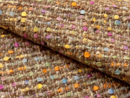 Tweed gris à rubans colorés
