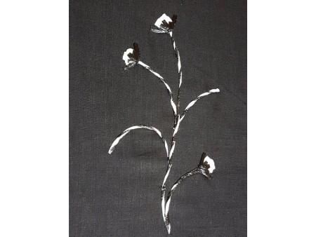 Toile de lin brodé noir et blanc