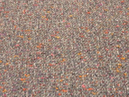 Tweed gris à fils tangerine