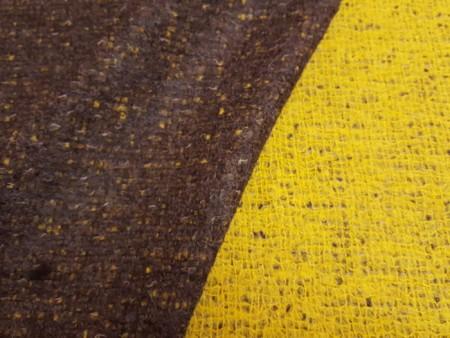 Tweed de laine double- face jaune et brun